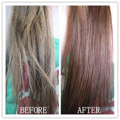 antes y despues tratamiento de aceite caliente