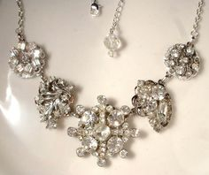 Stunning reclaimed vintage crystal rhinestone earring and brooch bridal necklace!