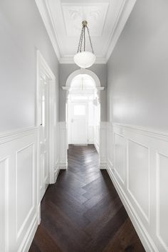 Epsom Residence - Kustom Timber & Leilah and Lyla Home Parquetry Floor, Victorian Hallway, Flur Design, Hallway Designs, Hallway Ideas, Herringbone Wood Floor, Hallway Inspiration, Dark Wood Floors, Grey Floorboards