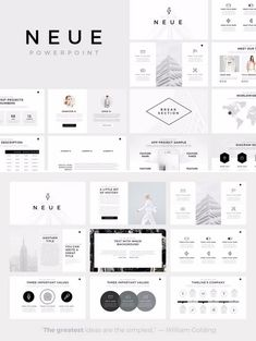 Neue – Minimalist PowerPoint Template Neue, a minimalist PowerPoint template with more than 100 unique slides from SlidePro. The 'Neue' PowerPoint template will help you to present your Free Powerpoint Presentations, Powerpoint Design Templates, Presentation Design Template, Presentation Layout, Booklet Design, Flyer Template, Portfolio Presentation, Templates Free, Layout Design