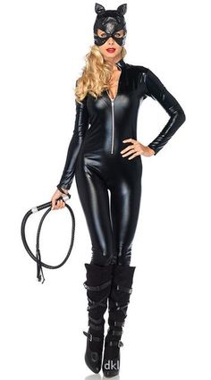 cc5f5714da3 2017 New Sexy Cat Suit Fancy Dress Shiny Super Hero Black Animal Leather Cat  Wom