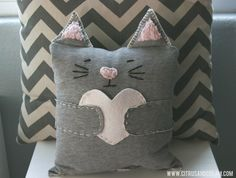 Easy Sew Valentine's Kitty (Made From Recycled Sweats!) - Citrus and Cream