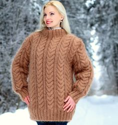 HAND KNITTED Made to order cable knit mohair sweater in light brown by SuperTanya