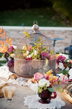 Birdcage centerpiece - could be used for special occasions or even just a late-summer patio party!