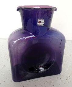 Handmade Blenko Amethyst Purple Double Spout Decanter Art Vintage Mid Century