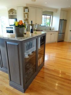 """See how Vestabul infused this """"Room with a View"""" with functional solutions you can adapt to your kitchen renovation. Glass Doors, Kitchen Island, Room, Design, Home Decor, Glass Pocket Doors, Island Kitchen, Bedroom, Decoration Home"""