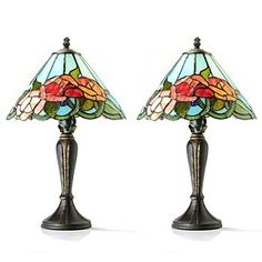 Use these 2 Tiffany Inspired Rose lamps to by GulfShoresScraps, $39.99