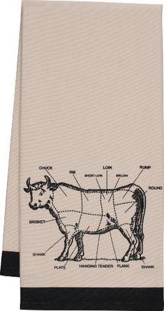 Gourmet Classics Chef's Cut Chart Cow Kitchen Towel
