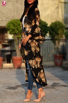 Buy Black Printed Georgette Long Shrug Online in India Casual Skirt Outfits, Stylish Dresses, Simple Dresses, Casual Dresses, Kimono Outfit, Kimono Fashion, Fashion Dresses, Latest Top Designs, Women Salwar Suit