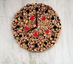 Wall clock - Natural wooden wall clock - Eco Wall Clock- love wall decor - Rustic Modern Wall Clock - large Rustic Home Decor Handmade Wall Clocks, Rustic Wall Clocks, Unique Wall Clocks, Rustic Walls, Rustic Wall Decor, Wooden Decor, Wooden Walls, How To Make Wall Clock, Clock Art