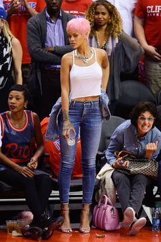 In Manalo Blahnik stilettos at a Los Angeles Clippers' Game. See all of Rihanna's best looks.