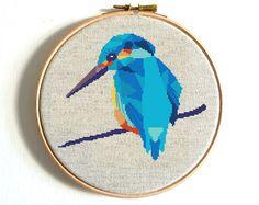 Kingfisher bird cross stitch pattern, Modern cross stitch Kingfisher Geometric cross stitch chart, Kingfisher pattern Modern Embroidery PDF