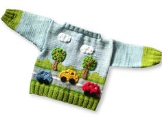 Knitting Patterns Boy Knitting Pattern Baby jacket in four sizes in country road look - Knitting instructions via Makerist. Knitting Patterns Boys, Knitting For Kids, Baby Patterns, Crochet Patterns, Crochet Bebe, Knit Crochet, Country Look, Baby Pullover, Sasha Doll