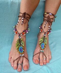 BOHEMIAN barefoot sandals PEACOCK FEATHER foot jewelry by GPyoga, $90.00