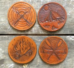 Merit Badge Leather Coaster Set 4pc by BunsaiLeather on Etsy