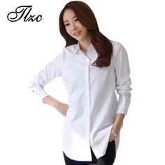 TLZC Autumn Spring Women Long White Shirts Size S-2XL All-match Good Quality Long Sleeve Lady Casual Cotton Blouse & Tops