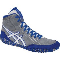 1c342c62e1a5 Aggressor 3 (Grey   White   Blue) Asics Wrestling