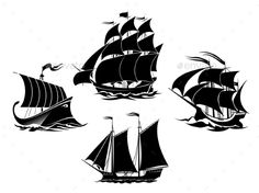 Sailboats and Sailing Ships Silhouettes - Tattoos Vectors