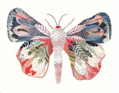 Exotic Moth, Large Archival Print by United Thread - contemporary - artwork - Etsy Art And Illustration, Illustrations, Watercolour Illustration, Butterfly Illustration, Motifs Animal, Insect Art, Inspiration Art, Contemporary Artwork, Eclectic Artwork