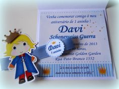 Convite Pequeno Príncipe The Little Prince Theme, Nautical Baby, First Birthdays, Party Themes, Baby Shower, Invitations, Christmas Ornaments, Holiday Decor, Creative