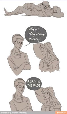 """And they don't want you there."" Hehehe! Solas and Lavellan, Dragon Age: Inquisition humor."