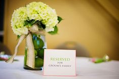 Hydrangeas and Limes - love green flowers for centerpieces. should try this!