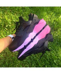 Nike Huarache Custom Black Neon Pink Faded Soles Sale Cheap UK b0088a0fb6bb