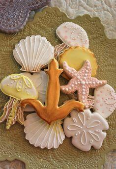 sablés décorés coquillages, méduses et étoiles de mer
