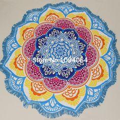 Drop Shipping Tassel Indian Mandala Tapestry Lotus Printed Bohemian Beach Towel Yoga Mat Sun block Round Bikini Cover-Up Blanke