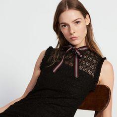 Lace Dress With Grosgrain Collar - Dresses - Sandro-paris.com