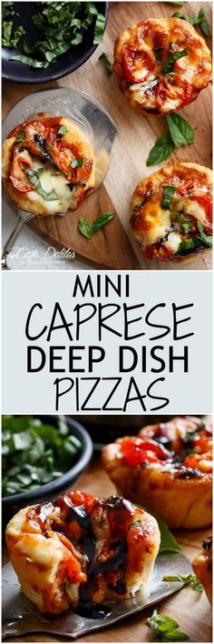 Caprese salad meets pizza in these delicious deep dish pizzas made easy in a humble standard muffin pan| https://cafedelites.com