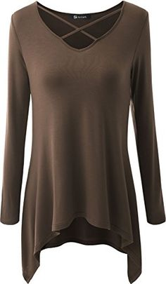 10e70505e38 Women V Neck Boots Longsleeve Tunics Simple Thirt Blouse Top Coffee M    Find out more