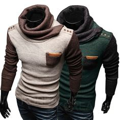 2016 New Men's Sweaters Turtleneck Pullover Patchwork Personalized Paper superscript Design Pullovers Men Clothing