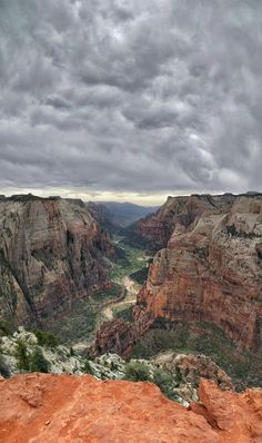 Zion Canyon from 2200 ft up  Observation Point. Also visible is the top of Angels Landing (at an elevation of 1500 ft). Zion National Park UT. [OC] [2586 x 4361  Nexus6P]