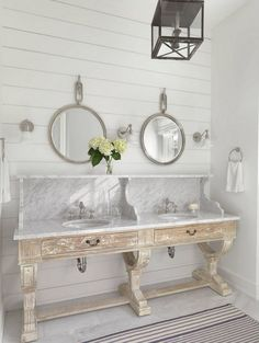 Bathroom vanity. Bathroom white washed wood vanity with marble. Bathroom white washed wood #Bathroom #whitewashedwood Amy Studebaker Design