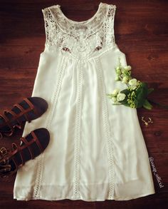 Sweet A-Line White Tank Dress