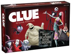 CLUE®: Tim Burtons The Nightmare Before Christmas Sandy Claws has been kidnapped Solve the mystery of WHO kidnapped him WHAT item was used and WHERE he was hidden in time to save Christmas Ages 8 Players 2 6 Game Includes Custom Illustrated Game Board featuring Halloween and Christmas Towns 6 Suspect Personality Cards with Custom Gameplay: Sally Two Faced Mayor Jack Skellington Oogie Boogie Lock Shock and Barrel and Dr. Finkelstein 6 Custom Metal Weapons: Zombie Duck Bathtub Present Wreath…