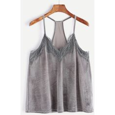 Grey Lace Trim Racer Back Velvet Cami Top (860 INR) ❤ liked on Polyvore featuring tops, grey, velvet top, racerback camisole, cami top, racerback tank top and grey tank