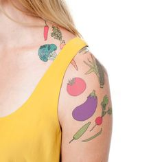 Vegetable Set by Julia Rothman from Tattly Temporary Tattoos. Quality, non-toxic and made in the USA. Fake tattoos by real artists! Chef Tattoo, Temp Tattoo, I Tattoo, Fake Tattoos, Temporary Tattoos, Tattly Tattoos, Tatoos, Vegetable Tattoo, Best White Elephant Gifts