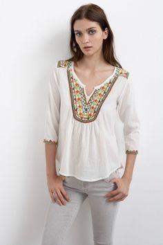 VELVET By Graham & Spencer Zona Cotton Gauze Embroidered Blouse Top White S $148 #VelvetbyGrahamSpencer #Blouse #Casual