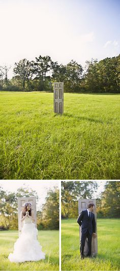 Awesome couple!!  Amazing first look behind a single door in the middle of a grassy field!!