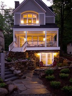 The original Lake Sunapee cottage was replaced with consideration to the classic Victorian homes in the neighborhood. With houses only eight feet from either side, the design maximizes the allowabl…