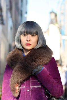 "I like the ""granny"" look - grey bob and shearling collar on purple vintage coat :)"