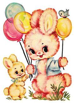 Items similar to Vintage Bunny Day Cross Stitch Pattern PDF on Etsy Images Vintage, Art Vintage, Vintage Artwork, Vintage Pictures, Vintage Toys, Retro Images, Vintage Illustrations, Art Mignon, Etiquette Vintage