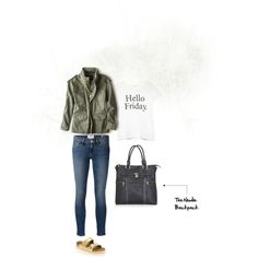 Hello Friday by newlieco on Polyvore featuring MANGO, American Eagle Outfitters, Frame Denim and Birkenstock