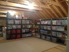 Organized Attic = vertical shelves are a great solution, with labeled areas for each category on each shelf.  www.an-organized-life.net