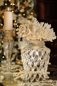 White Coral Decor for a Coastal Winter Holiday Coastal Christmas, Silver Christmas, Christmas Holidays, Christmas Decorations, Table Decorations, Holiday Decor, Christmas Vignette, Christmas Tablescapes, Christmas Candles