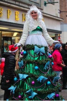 Fairy on top of a Christmas Tree Stilt walker