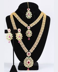 Long Necklace Collections AD Stone Haram Set with Matching Earrings Gold Jewellery Design, Gold Jewelry, Diamond Jewelry, Jewlery, Necklace Set, Pendant Necklace, Pendant Set, American Diamond Jewellery, Indian Jewelry Sets