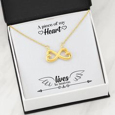 062 - A Piece Of My Heart Lives In Heaven - Infinity Heart Necklace Infinity Heart, Infinity Necklace, Infinity Symbol, Love Necklace, Memorial Messages, Memorial Gifts, Skull Tattoo Design, Dragon Tattoo Designs, Tattoos With Kids Names